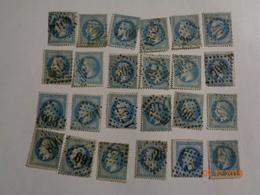 Lot N°59 :20 Timbres Napoléon III Lauré, Empire Français ,dentelé ,20 C Bleu ,n°29 B - 1863-1870 Napoleon III With Laurels