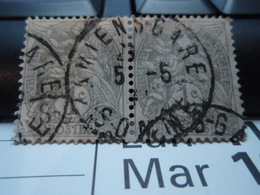 2 Timbres  Type Blanc 1 Centime Oblitération AMIENS-GARE - 1900-29 Blanc