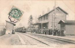 60 Maignelay Montigny La Gare Train Locomotive à Vapeur Cpa Carte Animée Cachet 1907 Convoyeur Creil à Paris - Maignelay Montigny