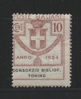REGNO 1924 EMISSIONI IN FRANCHIGIA CONSORZIO BIBLIOTECHE DI TORINO 10 C. * GOMMA ORIGINALE - 1900-44 Victor Emmanuel III