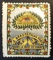 Vignette Type Delandre LIBRE PENSEE Nombreux Symboles Franc-maçonnerie . Fond Argent - Erinnophilie