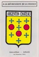 AUTOCOLLANT BLASON ECUSSON DECOUVERTE DE LA FRANCE ARGENTON CHATEAU - Stickers