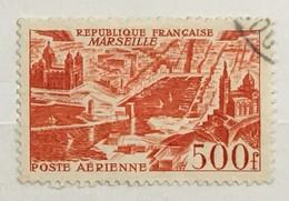 Timbre France Poste Aérienne YT 27 (°) Obl 500F Rouge Marseille (côte 7 Euros) – 62b - Poste Aérienne