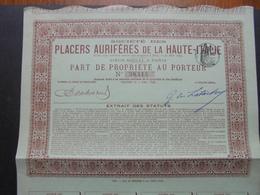ITALIE - STE DES PLACERS DE LA HAUTE ITALIE - PART DE PROPRIETE - PARIS 1899 - Azioni & Titoli
