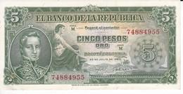 BILLETE DE COLOMBIA DE 5 PESOS DE ORO DEL AÑO 1960 SIN CIRCULAR (BANK NOTE) UNCIRCULATED - Colombia