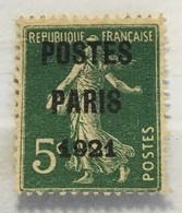 Timbre France Préo YT 26 (137) (°) Obl Postes Paris 1921 5c Vert (côte 80 Euros) – 69 - 1893-1947