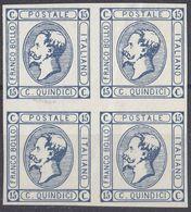 ITALIA - 1863 - Quartina Nuova Senza Gomma, Unificato 12, Azzurro Scuro, Come Da Immagine. - 1861-78 Victor Emmanuel II.