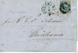 NORWEGEN Nr.1 Auf  Brief 1857  Nr-Stempel 317  Blauer Nebenstempel TÖNSBERG - Norwegen