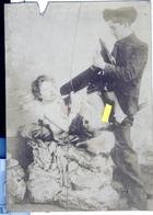 PHOTO ALBUMINEE SEPIA SUR PAPIER MINCE,  FIN XIX - DEBUT XXeme EROTIQUE  PORNO FEMININ  NU NUDE Dim.:10.00X13.80cm - Belleza Feminina (...-1920)