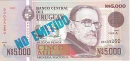 NO EMITIDO - BILLETE DE URUGUAY DE 5000 PESOS DEL AÑO 1989 SIN CIRCULAR  (BANKNOTE) UNCIRCULATED - Uruguay