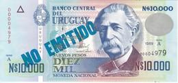 NO EMITIDO - BILLETE DE URUGUAY DE 10000 PESOS DEL AÑO 1989 SIN CIRCULAR  (BANKNOTE) UNCIRCULATED - Uruguay