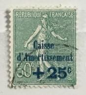 Timbre France Semeuse Caisse D'amortissement YT 247 (°) 1927, +25c Sur 50 C [vert-bleu] (côte 9 Euros) – 405j - Gebruikt