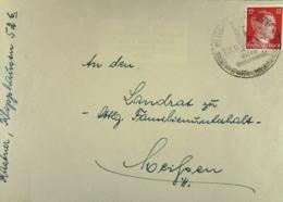 """DR: Fern-Brief Mit 12 Pf Hitler EF Mit SoSt. Wilsdruff """"auf Der Reichsautobahn"""" Vom 31.4.1944 Nach Meißen Knr: 827 - Briefe U. Dokumente"""