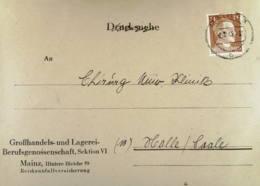 DR: Doppel-Brief Mit 24 Pf Hitler EF Aus Mainz Vom 8.2.1945 Nach Halle (Saale) Knr: 792 - Briefe U. Dokumente
