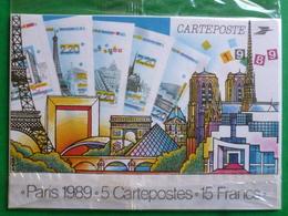 5 Cartes Panorama De Paris - 2579/83 De 1989  Sous Blister Non Ouvert - Cartes-Maximum
