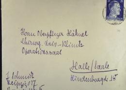 DR: Doppel-Brief Mit 25 Pf Hitler EF Aus Leipzig - Reichsmessestadt Vom 3.4.1943 Nach Halle (Saale) Knr: 793 - Briefe U. Dokumente