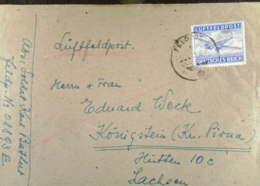 DR: Luftfeldpost-Brief Mit Feldpoststempel Vom 8.10.44 , Gezähnte Marke Knr: 1 A - Briefe U. Dokumente