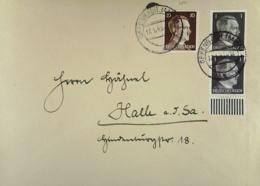 DR: Fern-Brief Mit 10 Und 1 Pf Hitler MiF Aus Offenbach Vom 17.1.43 Nach Halle (Saale) Knr: 787 Ua - Briefe U. Dokumente