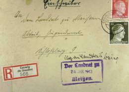 DR: R-Fern-Brief Mit 12 Und 30 Pf Hitler MiF Vom 25.1.43 An Den Landrat Von Meißen, Eing-St. Vorn Und Hinten Knr: 794 Ua - Deutschland