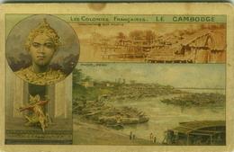 CAMBODGE / CAMBODIA - PNOM -PENH  + DANSEUSES CAMBODGIENNES - LITH PARISIENNE - 1910s ( BG6563) - Cambodja
