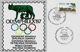 1987 ESPOSIZIONE MONDIALE DI FILATELIA OLIMPICA ; OLYMPHILEX 87 - Esposizioni Filateliche