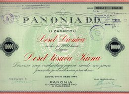 1944 WWII  NDH, ZAGREB, PANONIA D.D. SHARE CERTIFICATE, 10.000 KUNA - Invoices & Commercial Documents