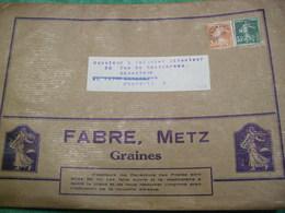 TRÈS RARE - ENVELOPPE : 24 X16,5  - FABRE  - METZ - GRAINES -  (BETTERAVE JAUNE D'ECKENDORF)  - MARQUE FABRE - - Autres Collections