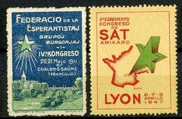 DEUX VIGNETTES ESPERANTO Pour Le Congrès De 1911 à Chalon Sur Saône Et De 1947 à Lyon - Esperanto