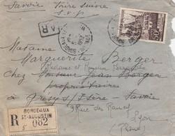 LETTRE. 1952. RECOMMANDÉ AVEC AR. BORDEAUX-ST AUGUSTIN POUR GRESY   /   3 - Postmark Collection (Covers)