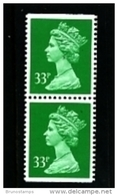 GREAT BRITAIN - 1991  MACHIN  33p. PCP  LITHO PAIR PERF. 14 IMP. TOP&BOTTOM  MINT NH SG X1057 - 1952-.... (Elizabeth II)