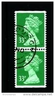 GREAT BRITAIN - 1991  MACHIN  33p.  PERF. 14  LITHO  PAIR  IMPERF. TOP&BOTTOM FINE USED  SG X1057 - 1952-.... (Elizabeth II)