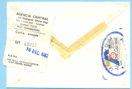 URUGUAY Cover  Private Carrier Agencia Central  1987 WITH  TRANSPORT BUS LABEL VERY RARE - Uruguay