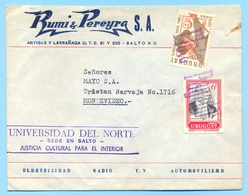 URUGUAY Cover  Private Carrier Transportes Berro Salto Montevideo Central  1987 WITH  TRANSPORT BUS LABEL VERY RARE - Uruguay