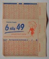 """Germany Allemagne Deutschland Sportfest-Toto """"6 Aus 49"""" Lottery Ticket Billet De Loterie Lotterielos DDR 1961 - Biglietti Della Lotteria"""