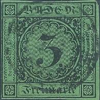 Germania Germany Deutschland,Baden 1853 -1854 New Colors ,3Kr(greenish Paper) - Baden