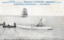 Aviation Animée Accident Marins De L'Harpon Aéroplane Lathan Voiliers Trois-Mats Pub Auguste Guinard Marcigny - ....-1914: Precursores