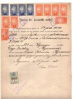 25.06.1920. KINGDOM OF SHS, ZEMUN, CHAIN BREAKERS, VERIGARI, POSTAL STAMPS AS REVENUE, 4x2 KR,8x1 KR AND 1 REVENUE STAMP - 1919-1929 Königreich Der Serben, Kroaten & Slowenen
