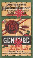 "Distillerie Pondcuir-Poussart ""Genièvre"" 25° Olne Liège 1930 Médaille D'or. Belgique - Andere Verzamelingen"