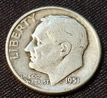 USA 1 Dime 1951 - Émissions Fédérales