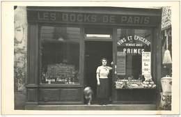 """CPHP2   CHARENTON. 94  RARE  CARTE PHOTO  """"  LES  DOCKS  DE  PARIS """". 158  RUE DE PARIS CIRE VINS LESSIVEUSES ... - Charenton Le Pont"""