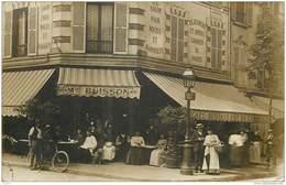 CPHP2   ASNIERES  92   RARE  CARTE PHOTO . MAISON  BUISSON,   CAFE RESTAURANT  DU  COMMERCE   1908.. - Asnieres Sur Seine