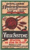 Distillerie / Pondcuir Poussart 'Vieux Système' 30° Olne Liège 1930 Médaille D'or. Belgique - Autres Collections