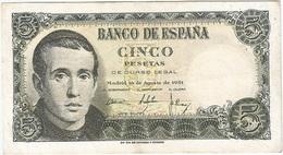España - Spain 5 Pesetas 16-8-1951 Pk 140 A.2 Ref 693-4 - 5 Pesetas