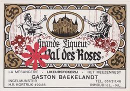 Distillerie Likeurstokerij Baekelandt Ingelmunster 'Grande Liqueur'  Du Val Des Roses - Autres Collections