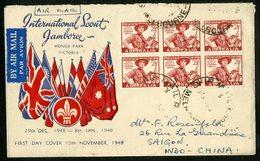 """International Scout JAMBOREE 1948 Australia N°163 (x6) Obl. C-à-d """"SHIP MAIL ROOM MELBOURNE"""" - Cartas"""