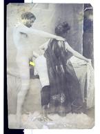 PHOTO ALBUMINEE SEPIA SUR PAPIER MINCE,  FIN XIX - DEBUT XXeme EROTIQUE  PORNO FEMININ  NU NUDE Dim.:10.20X14.70cm - Belleza Feminina (...-1920)