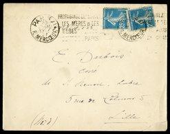 """1927 ROULETTE Du N°140 Avec Un 2ème Exemplaire (timbre Normal) Sur Env. Obl. Mécanique """"PARIS XI Rue Mercoeur 20/6/27"""" - France"""