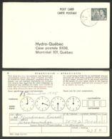 (A42-205) Canada Carte Postale QEII 8c Slate Hydro-Quebec Used LUSKVILLE - 1953-.... Reign Of Elizabeth II