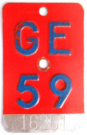 Velonummer Genf Genève GE 59 - Plaques D'immatriculation