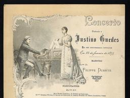 1894 Programma Concerto Para JUSTINO ROQUE GAMEIRO GUEDES (irmão Do Pintor). Typographia Da Companhia Nacional LISBOA - Programmi